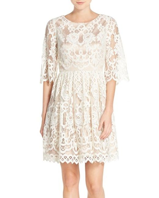 Eliza J Bell Sleeve Lace Fit Amp Flare Dress In White Lyst