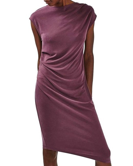 Asymmetric Drape Dress: Topshop Asymmetric Slinky Drape Midi Dress In Purple