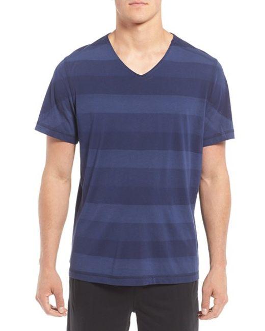Daniel buchler peruvian pima cotton v neck t shirt in blue for Peruvian cotton t shirts