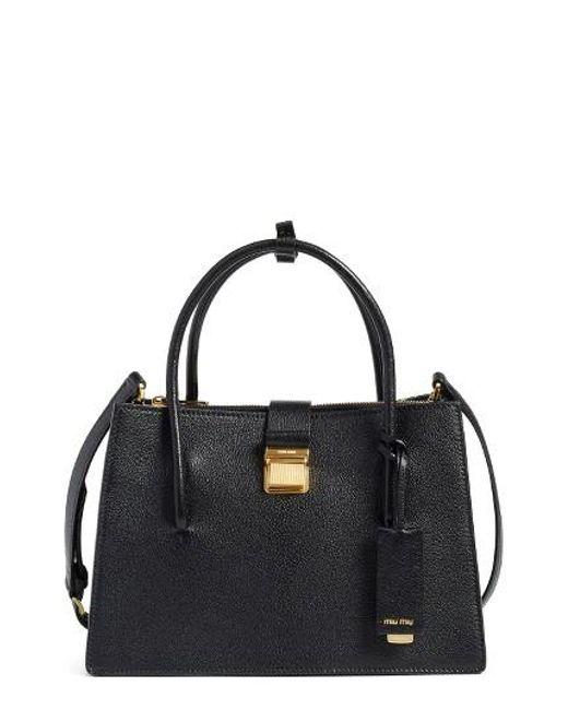 Miu Miu | Black 'small Madras' Goatskin Leather Satchel | Lyst