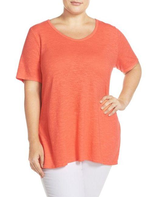 Eileen fisher scoop neck hemp and organic cotton t shirt for Eileen fisher organic cotton t shirt