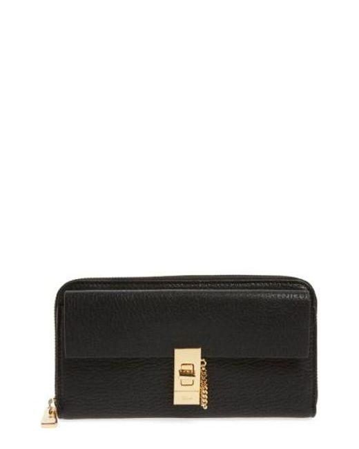 Chloé | Black 'drew' Calfskin Leather Zip Around Wallet | Lyst