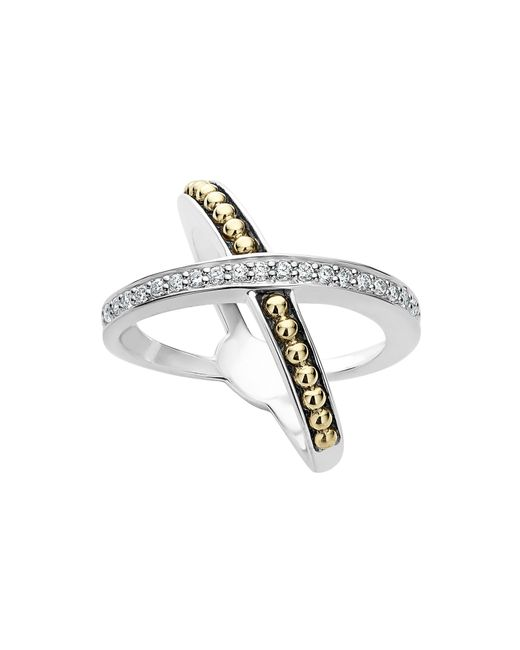 Lagos - Metallic 18k Gold And Sterling Silver X Ring With Diamonds - Lyst