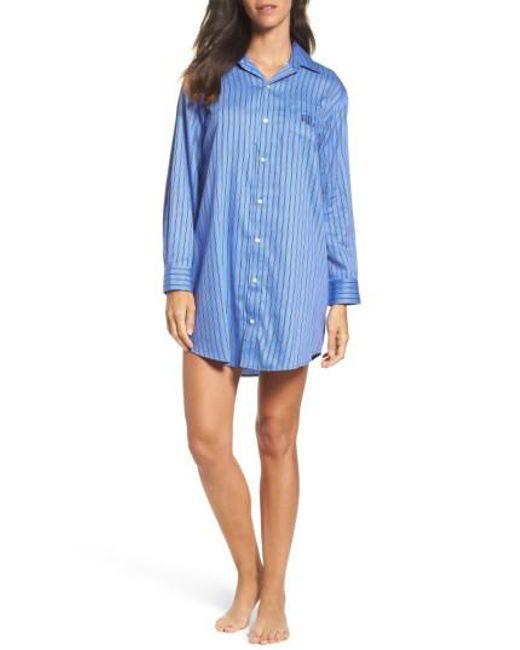 Lauren by Ralph Lauren | Blue Lauren By Ralph Lauren Paisley Sleep Shirt | Lyst
