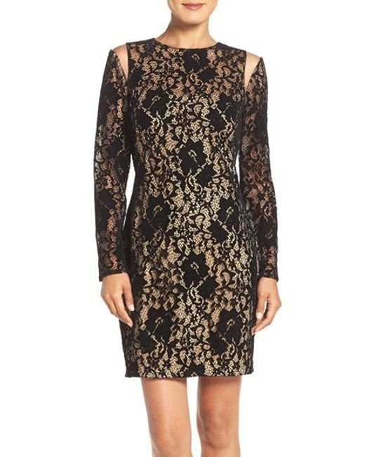 Tadashi Shoji | Embroidered Lace 3⁄4 Sleeve Dress With Sheer Cut Out Detail In Black / Nude | Lyst