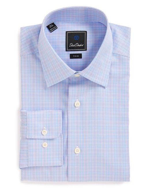 David Donahue | Blue Trim Fit Plaid Dress Shirt for Men | Lyst