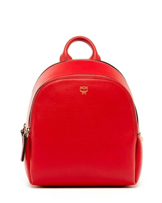 Mcm 'mini Duchess' Leather Backpack in Red (RUBY RED)