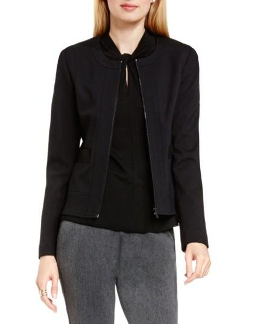 Vince Camuto | Black Front Zip Collarless Jacket | Lyst