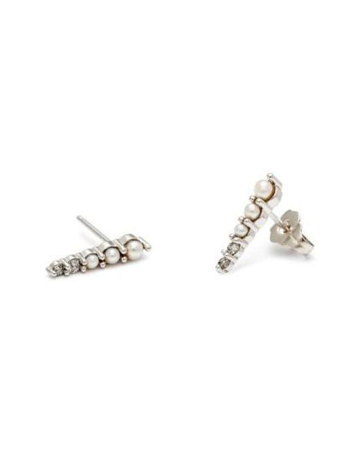 Anna Sheffield | Metallic 'pave Pointe - Medium' Diamond & Seed Pearl Stud Earrings | Lyst