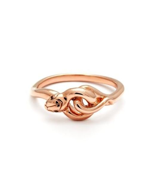 Anna Sheffield | Pink 'small Serpent' Rose Gold Ring | Lyst