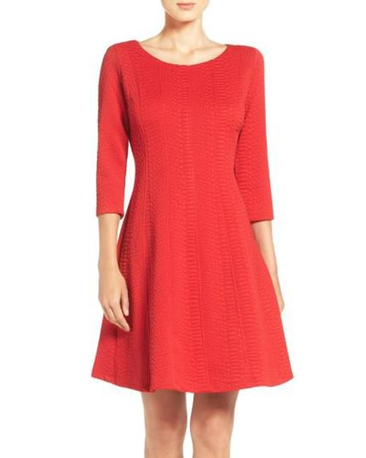 Taylor Dresses | Red Jacquard Knit Fit & Flare Dress | Lyst