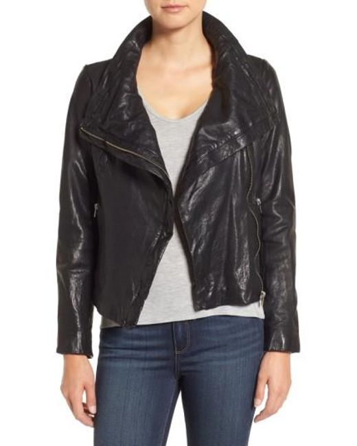 Lamarque | Black Funnel Neck Moto Jacket | Lyst