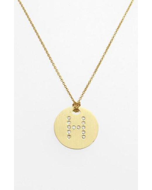Roberto Coin | Metallic 'tiny Treasures' Diamond Initial Disc Pendant Necklace | Lyst
