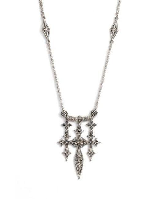 Konstantino   Metallic 'penelope' Triple Cross Pendant Necklace   Lyst