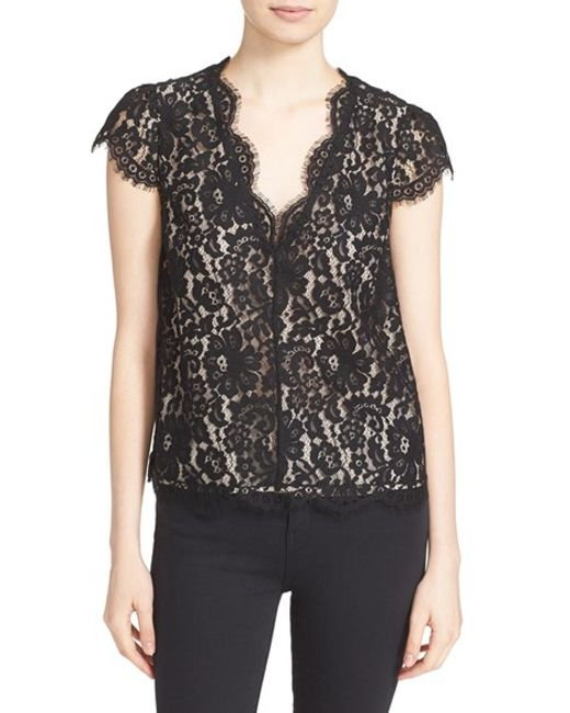Joie | Black Elvia Lace Top | Lyst
