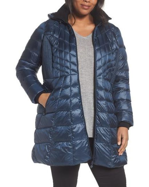 Bernardo | Blue Quilted Jacket With Down & Primaloft Fill | Lyst