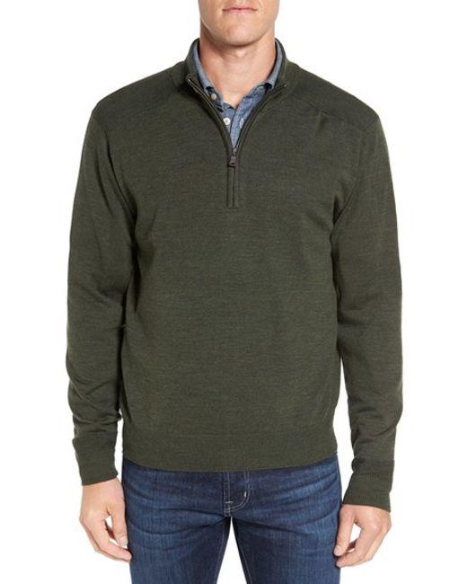 Cutter & Buck | Green 'douglas' Quarter Zip Wool Blend Sweater for Men | Lyst
