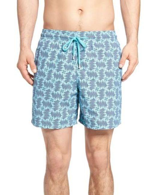 Vilebrequin check fish print swim trunks in blue for men for Fishing swim trunks