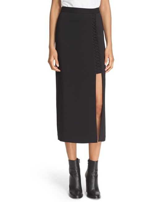 a l c lace up pencil skirt in black save 68 lyst
