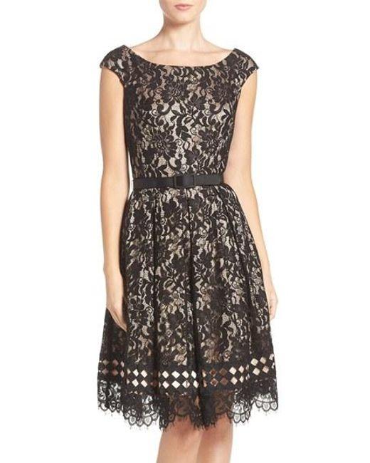 eliza j eliza belted lace fit flare dress in black lyst