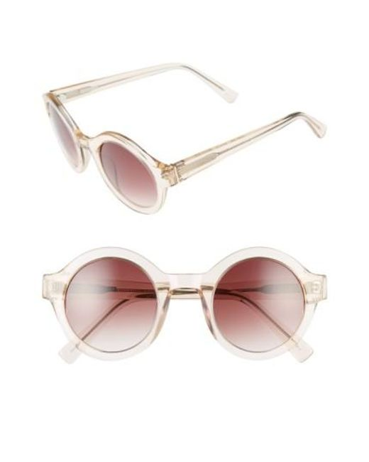 Derek Lam | Multicolor 'luna' 47mm Round Sunglasses - Nude Crystal | Lyst