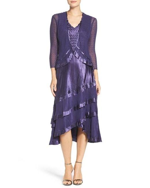 Komarov Charmeuse U0026 Chiffon Midi Dress With Jacket In Purple | Lyst