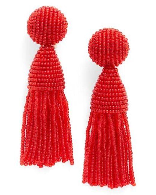 Oscar de la Renta | Red 'classic Short' Tassel Drop Earrings | Lyst