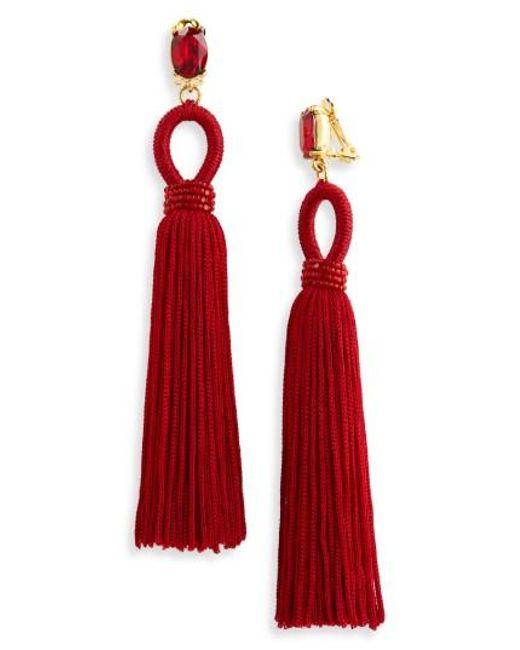 Oscar de la Renta | Red Long Silk Tassel Clip-on Earrings | Lyst