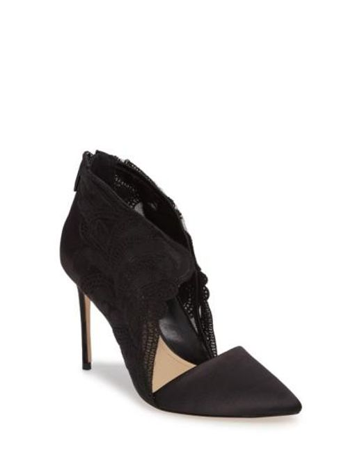 Imagine Vince Camuto | Black Obin Lace Detailed Pointy Toe Pump | Lyst