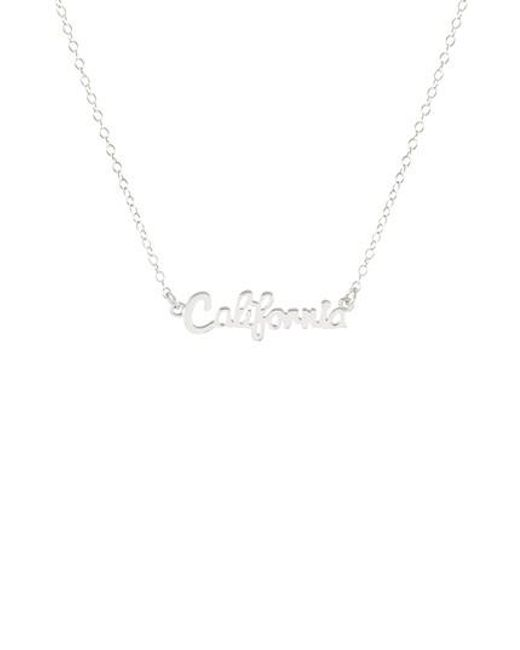 Kris Nations - Metallic State Script Charm Necklace - Lyst