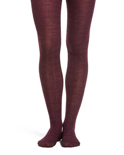 Smartwool Cable Knit Tights In Purple Lyst