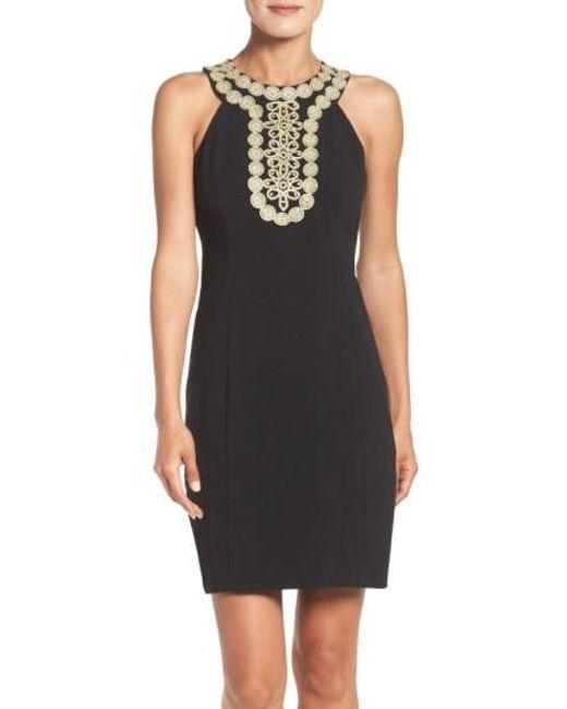 Taylor Dresses   Black Stretch Sheath Dress   Lyst