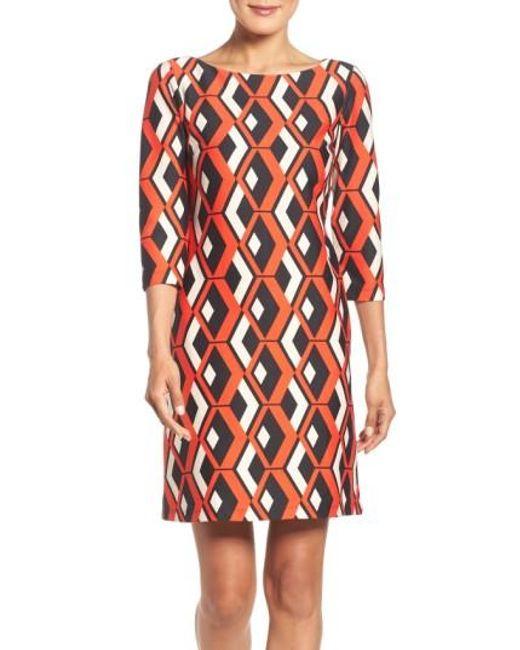 Taylor Dresses | Red Geo Print Shift Dress | Lyst