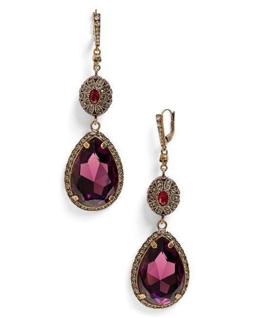 Alexander McQueen | Purple Double Drop Earrings | Lyst