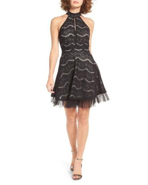 Love, Fire | Black Lace Fit & Flare Dress | Lyst