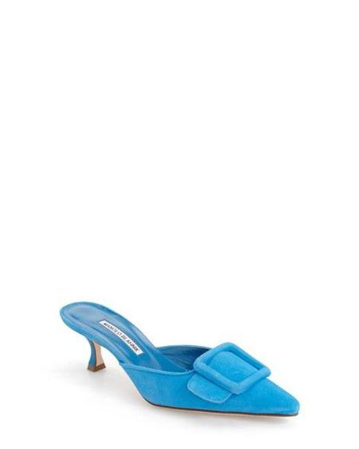 manolo blahnik blue suede slide
