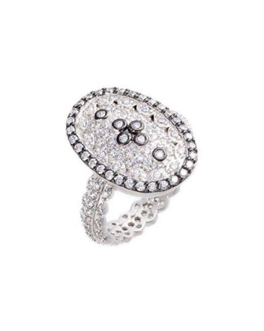Freida Rothman | Metallic Pave Cubic Zirconia Clover Ring | Lyst