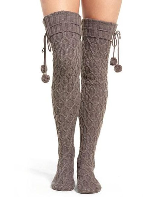 Ugg Ugg Sparkle Cable Knit Socks In Gray Lyst