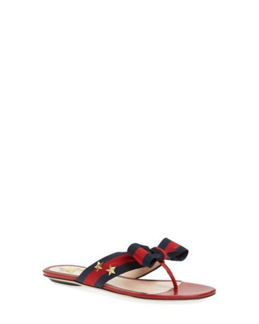 Gucci | Blue 'aline' Bow Thong Sandal | Lyst