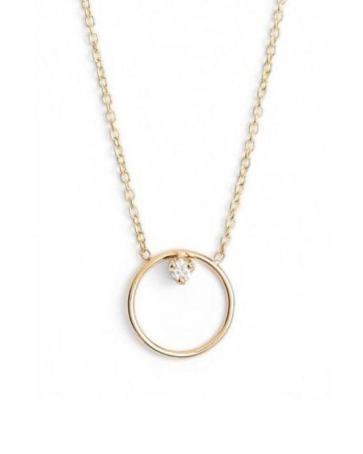 Zoe Chicco   Metallic Diamond Circle Necklace   Lyst