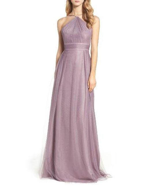 Monique Lhuillier Bridesmaids | Purple Tulle Halter Style Gown | Lyst