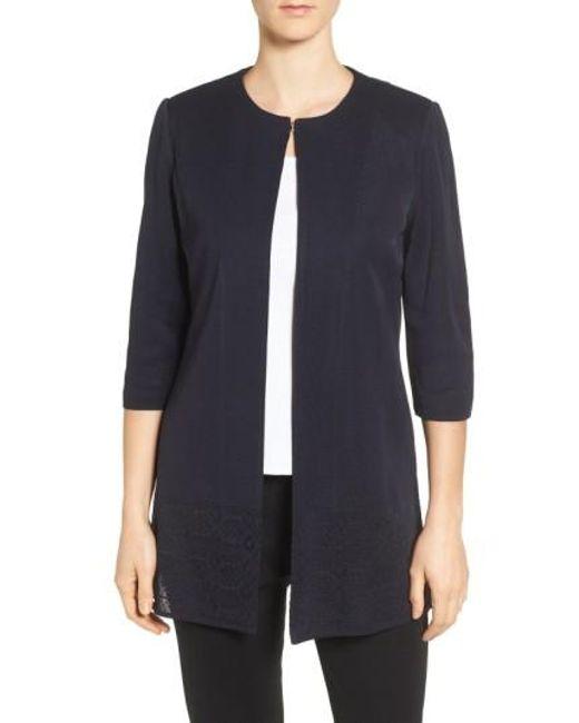 Ming Wang   Blue Long Collarless Jacket   Lyst