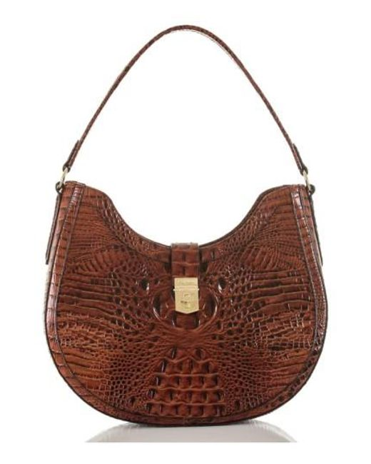 Brahmin | Brown Bethany Croc Embossed Leather Hobo | Lyst
