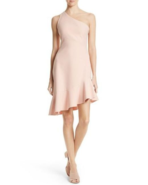 Cinq À Sept | Pink Stella Asymmetrical One-shoulder Dress | Lyst