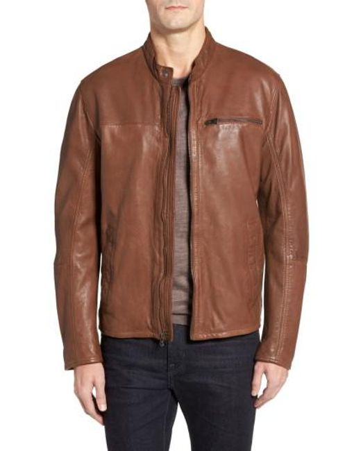 Cole Haan   Brown Washed Lamb Leather Moto Jacket for Men   Lyst