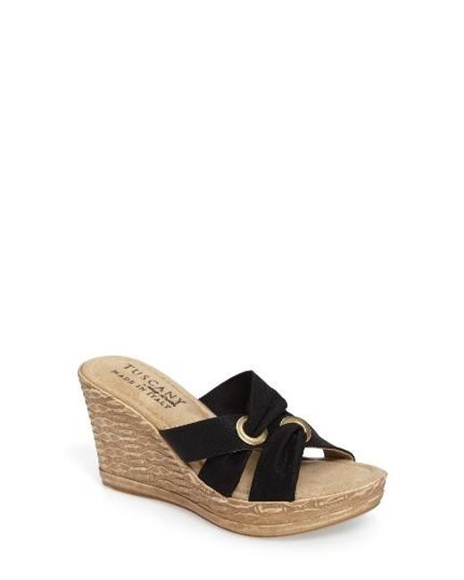 Easy Street | Black By Easy Street Solaro Platform Wedge Sandal | Lyst