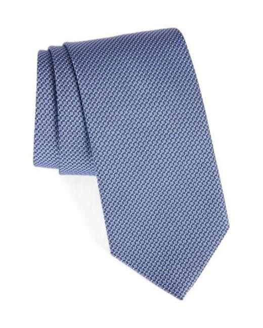 David Donahue   Purple Grid Silk & Cotton Tie for Men   Lyst