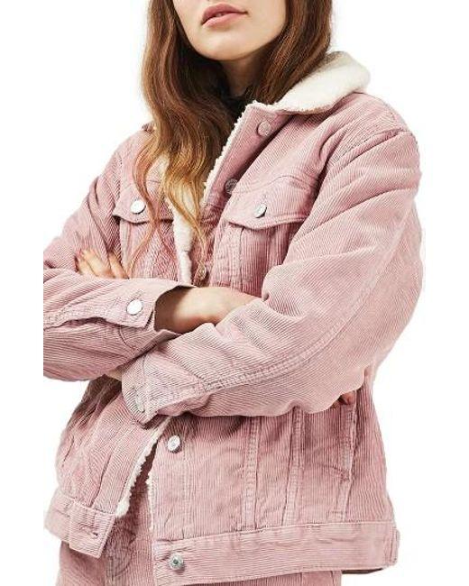 Topshop Borg Corduroy Jacket In Pink