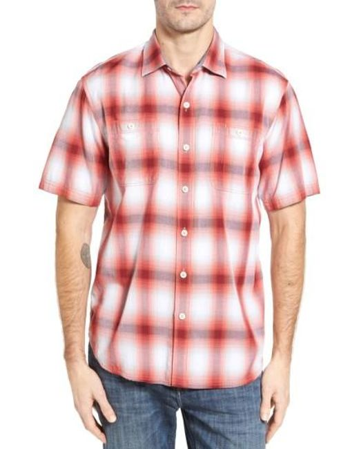 Tommy Bahama | Red Plaid For You Standard Fit Camp Shirt for Men | Lyst