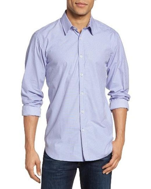 Jeremy Argyle Nyc | Blue Slim Fit Mini Check Sport Shirt for Men | Lyst